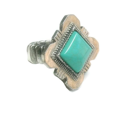 Turquoise,Gemstone,Stretch,Ring,turquoise gemstone stretch ring, concho, southwest, western ring, statement ring, adjustable ring, boho, cowgirl, tribal
