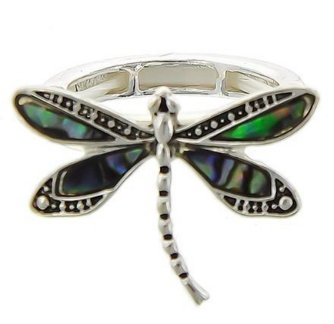 Dragonfly,Abalone,Stretch,Ring,Dragonfly Abalone Ring, Dragonflies, Dragonfly Jewelry, Nature, Boho Chic, Insect Jewelry, Bug Ring, Stretch, Silver, Stacking, Minimalist