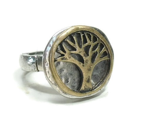 Tree,of,Life,Stretch,Ring,Tree of Life Stretch Ring, Woodland, Nature, Hippie, Symbolic Tree, Two-Tone Ring, Rustic