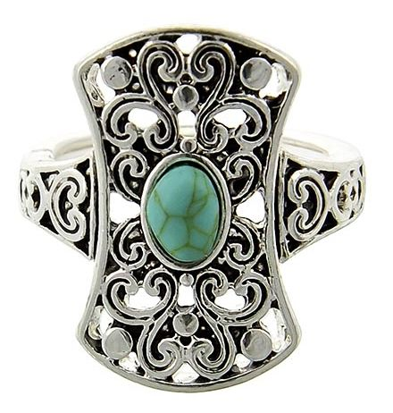 Turquoise,Gemstone,Stretch,Ring,turquoise gemstone stretch ring, filigree, southwest, western ring, statement ring, adjustable ring, boho, hippie, cowgirl