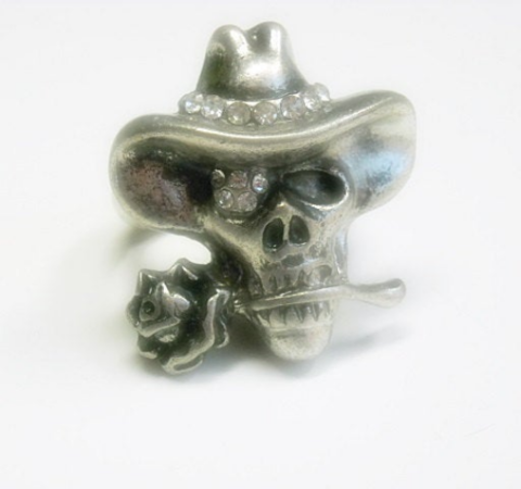 Skull,Stretch,Ring,skull stretch ring, western skull ring, adjustable, day of the dead, goth, pewter skull, cowboy skull, cowgirl, southwest