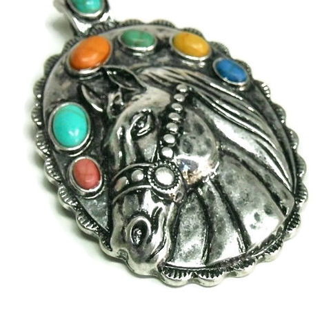 Horse,Magnetic,Pendant,Horse Magnetic Pendant, Clip On Magnetic Pendant, Multi Color Stones , Bohemian, Removable Pendant, Animal Jewelry, Horse Jewelry, Gemstone Pendant, Western