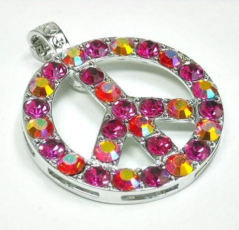 Fuchsia,Peace,Sign,Magnetic,Pendant,Fuchsia Peace Sign Magnetic Pendant, Clip On Interchangeable Necklace Pendant, Fuchsia Crystal Pave Peace Symbol Pendant, Hippie Pendant, Removable Pendant, DIY Necklace, Retro jewelry