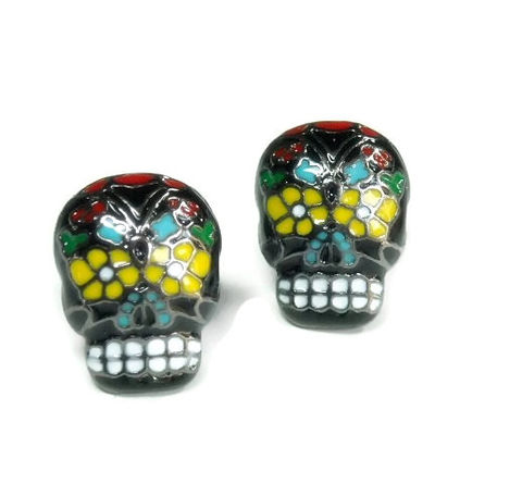 Sugar,Skull,Post,Earrings,Sugar Skull Post Earrings - Sugar Skull Earrings - Dia de los Muertos - Day of the Dead - Skull Post Earrings - Halloween - Calaveras