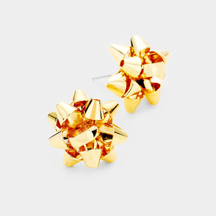 Gold Christmas Bow Post Earrings  - product images