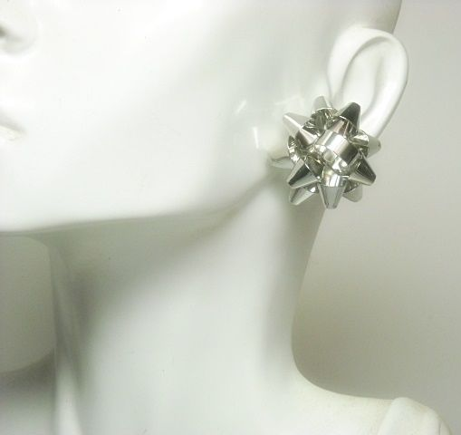 Silver Christmas Bow Post Earrings  - product images  of