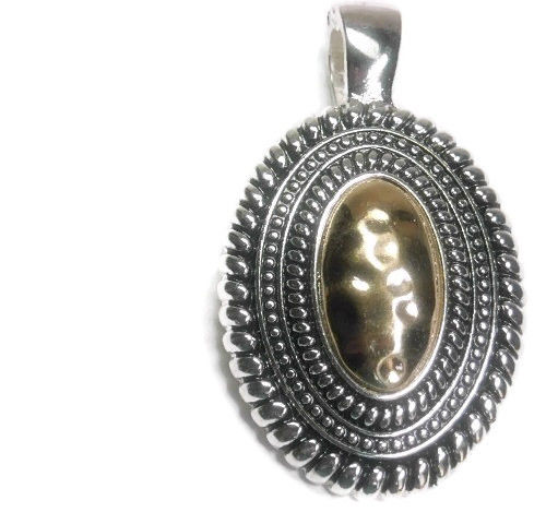 Oval Magnetic Gold and Silver Pendant - product images  of