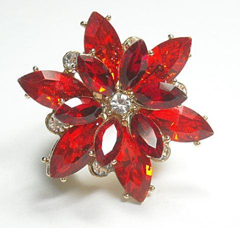 Ruby,Red,Flower,Stretch,Ring,Ruby Red Flower Stretch Ring - Floral Ring - Adjustable Stretch Ring - Hippie - Red Crystal Flower - Flower Power - Multifinger Ring - Christmas - hippie rocker, boho bohemian, statement ring. crystal petals