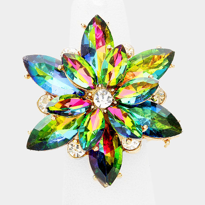 Rainbow Vitrail Flower Stretch Ring - product images  of