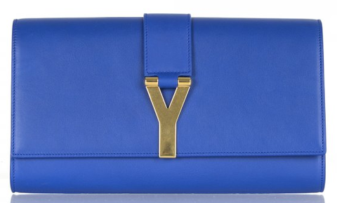 YSL,Y,Clutch,ysl, saint laurent, yves saint laurent, cobalt, clutch bag