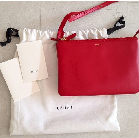 CELINE,RED,TRIO,SMALL,Celine trio, trio bag, celine bag sale, celine consignment