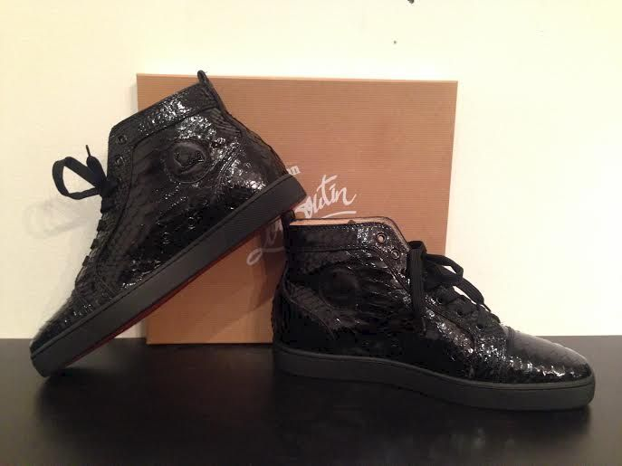 brand new 732c0 dd9ef ireland louboutin black python sneakers 99ab6 a23b5