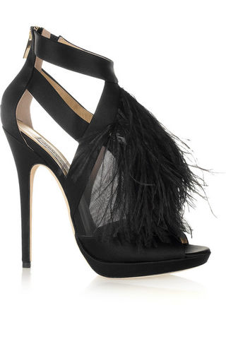 Jimmy,Choo,Ostrich,Feather,Sandals,Jimmy Choo Ostrich Feather Sandals, Jimmy Choo, Evening Shoes, Black Tie