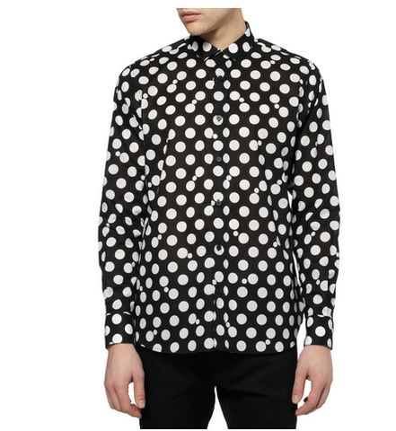 SAINT,LAURENT,SLIM-FIT,POLKA-DOT,COTTON,SHIRT
