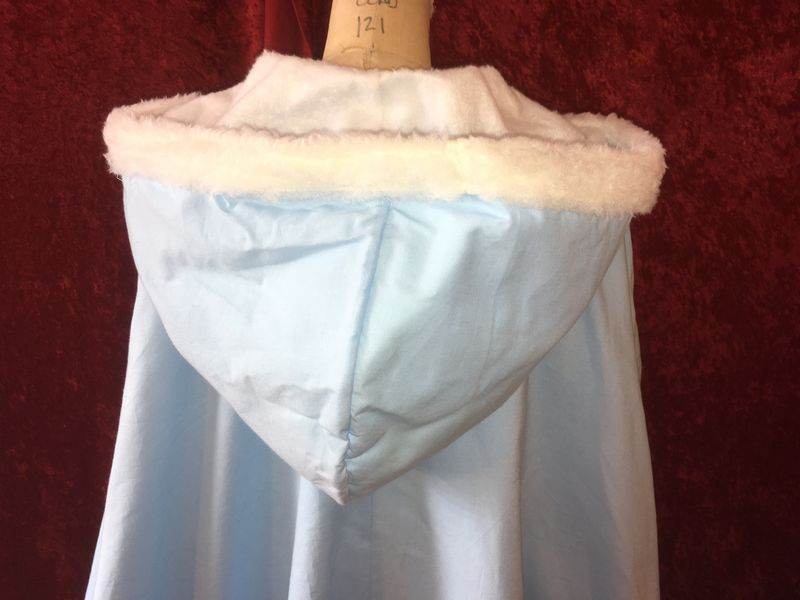 Cozy Sky Blue Cape Lined with Fake Plush Fur with Hood - product images  of