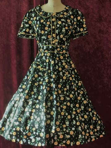 Adorable,Lindy,Bop,Rhonda,Ditsy,Rare,Tea,Dress,Black,with,Yellow,Floral,Adorable Lindy Bop Rhonda Ditsy Rare Tea Dress Black with Yellow Floral