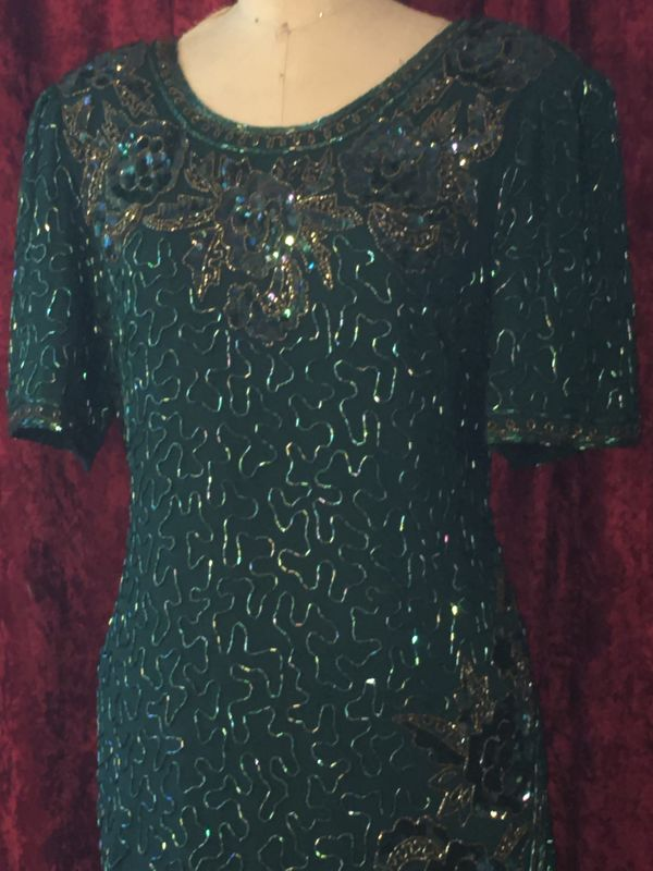 BNWT Gorgeous Dark Green Beaded and Sequined Long Gown - product images  of