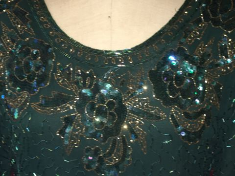BNWT,Gorgeous,Dark,Green,Beaded,and,Sequined,Long,Gown,BNWT Gorgeous Dark Green Beaded and Sequined Long Gown