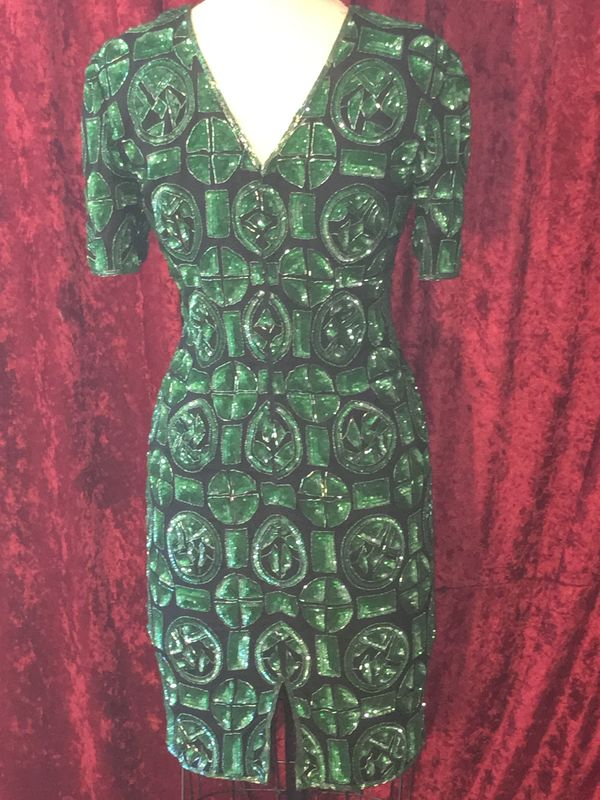 Stunning Black & Green Patterned, Beaded & Sequined Cocktail Dress - product images  of