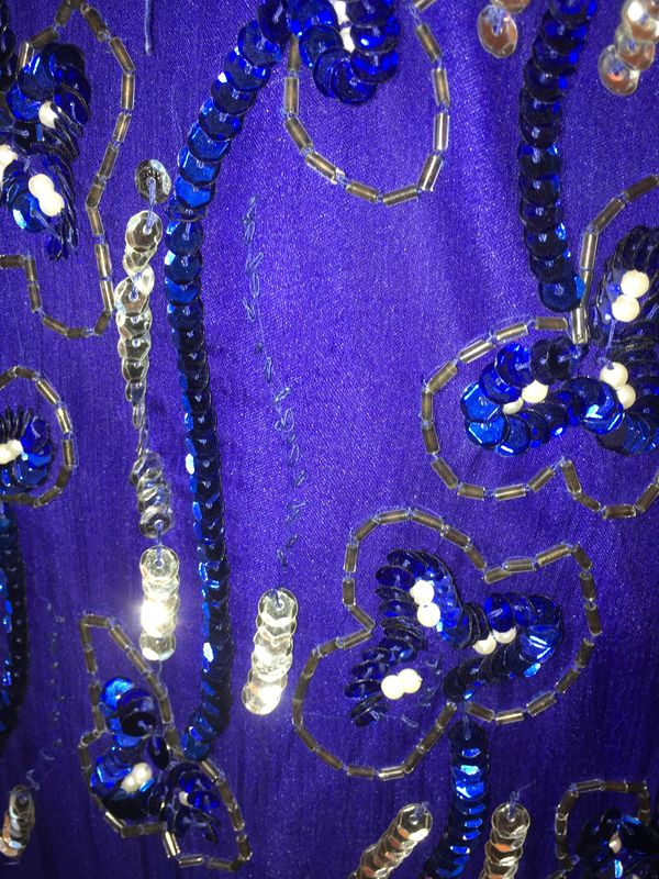 Blue & Silver Sequined & Beaded Cocktail Dress - product images  of