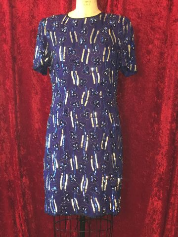 Blue,&,Silver,Sequined,Beaded,Cocktail,Dress,cocktail dress, royal blue, silver