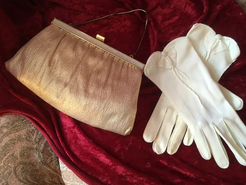 Vintage,Gold,Clutch,Purse,and,Short,Ivory,Gloves,Vintage Gold Clutch Purse and Short Ivory Gloves