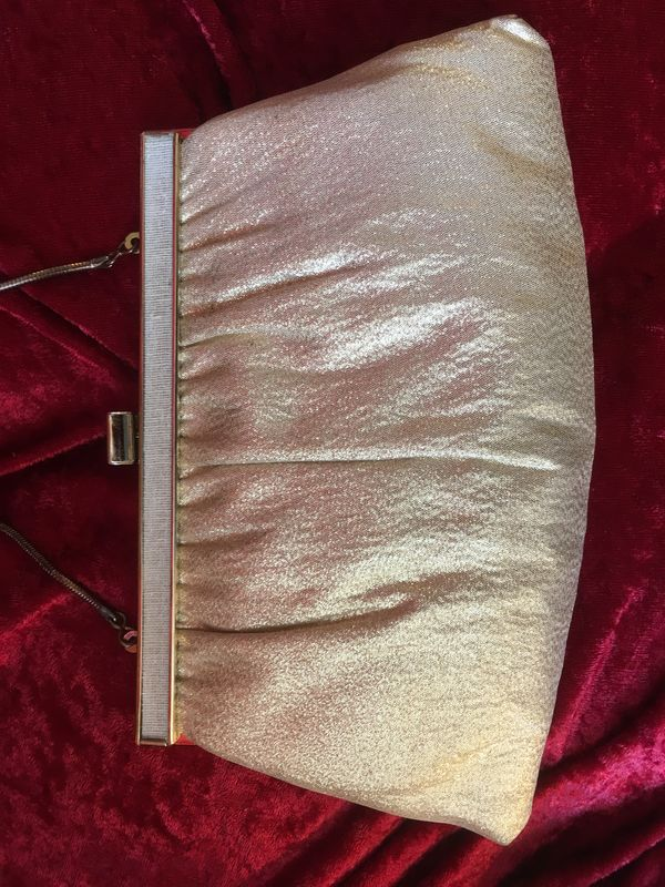 Vintage Gold Clutch Purse and Short Ivory Gloves - product images  of