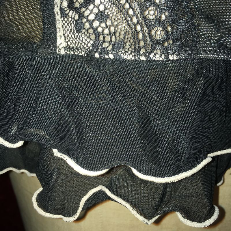 Black Blush Nude Flirty Skirt of Chiffon, Ruffle and Lace - product images  of