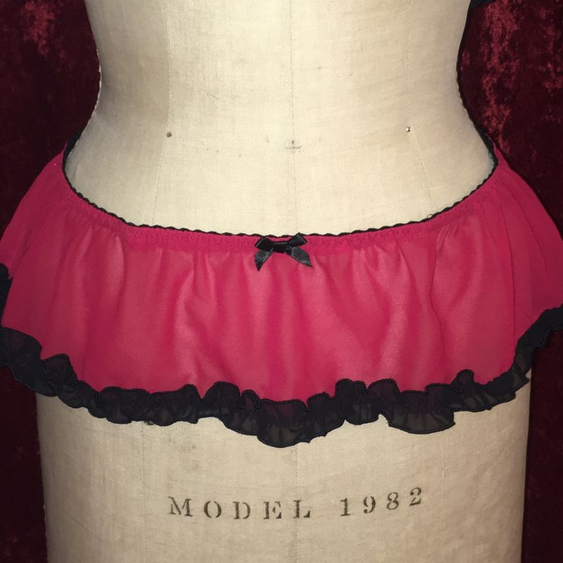 Red and Black Chiffon Teddy Nightie Top and Flirty Skirt - product images  of