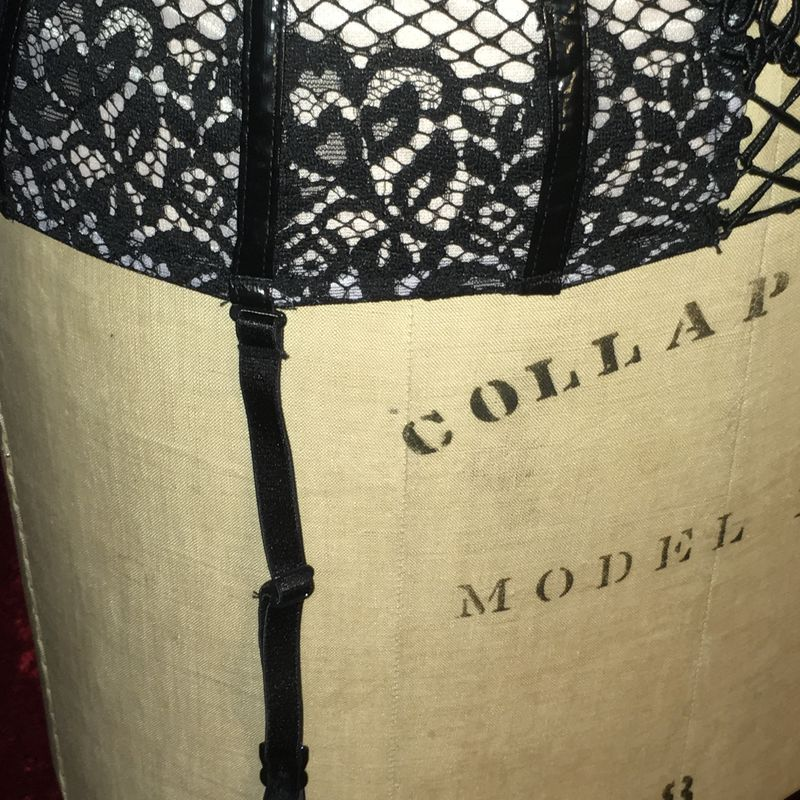 VS Garter Black and Pale Lavender - Pleather and Lace - product images  of