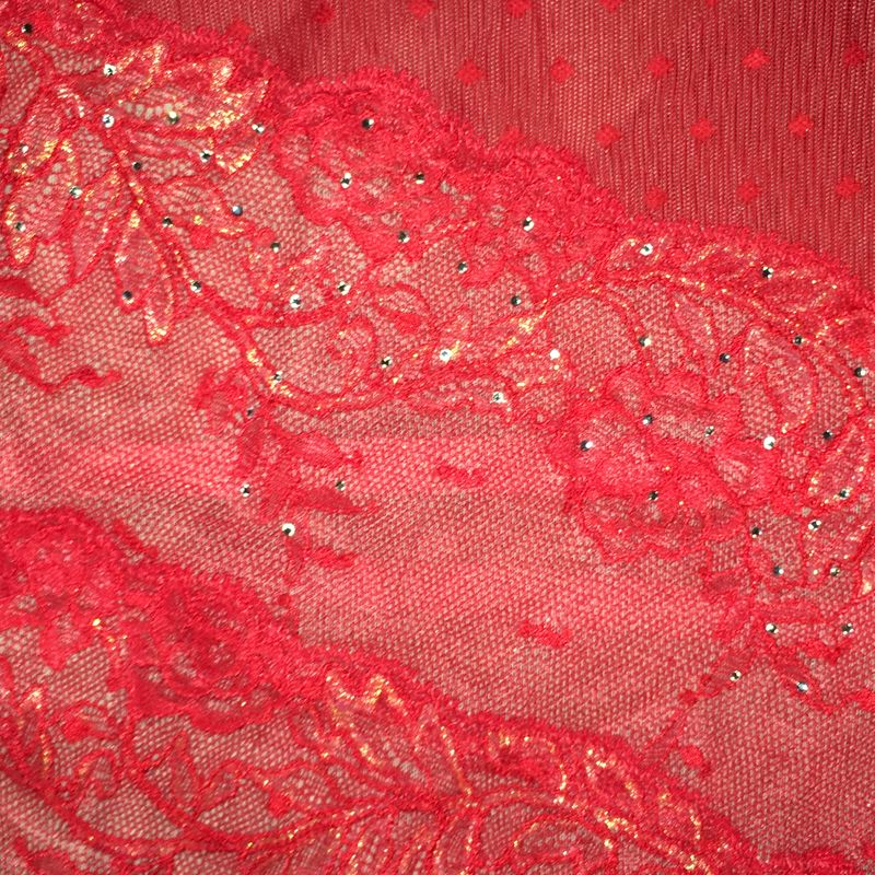 VS Red Garter Skirt with G-String, Crystals, Lace, Gold Shimmer - product images  of