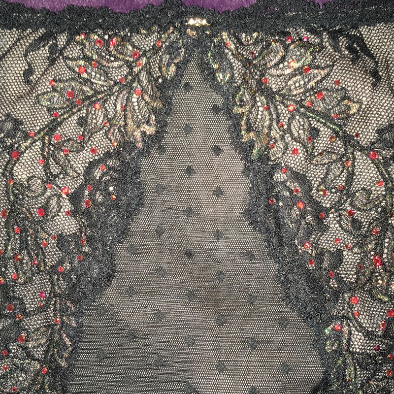 VS Black Garter Skirt with G-String, Crystals, Lace, Iridescent Shimmer - product images  of
