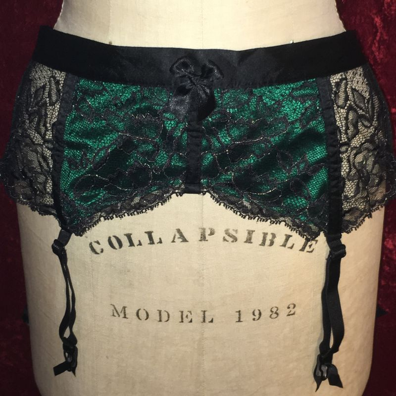 VS Black and Green Satin and Lace Tie Garter Belt - product images  of