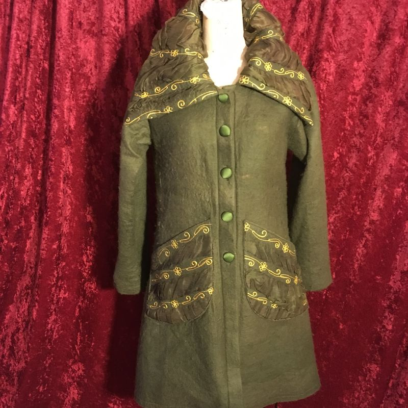 Vintage Olive Drab Felted Wool Ireland Light Coat Embellished with Gold OOAK - product images  of