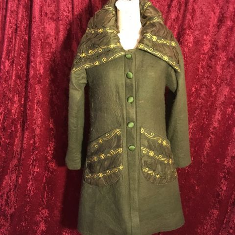 Vintage,Olive,Drab,Felted,Wool,Ireland,Light,Coat,Embellished,with,Gold,OOAK,Vintage Olive Drab Felted Wool Ireland Light Coat Embellished with Gold OOAK