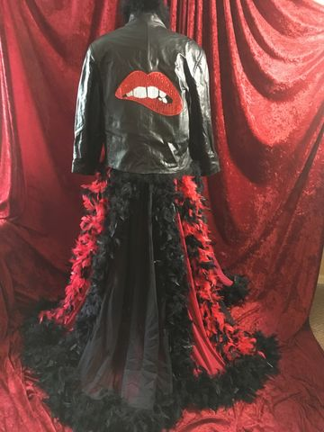 Rocky,Horror,Inspired,Leather,Coat,,Duster,-,Chiffon,and,Feathers,black leather, red sequin lips, red, black, chiffon, duster, coat, boa, turkey feather, feathers, rocky horror