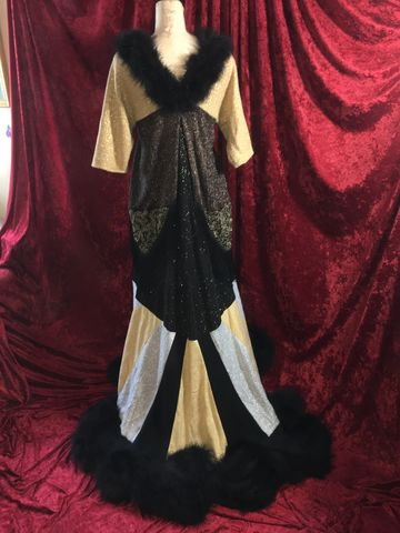Elegant,Metallic,Glittery,Upcycled,Sweater,Coat/Duster,Trimmed,with,Black,Marabou,Elegant Metallic Glittery Upcycled Sweater Coat/Duster Trimmed with Black Marabou