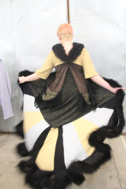 Elegant Metallic Glittery Upcycled Sweater Coat/Duster Trimmed with Black Marabou - product images  of