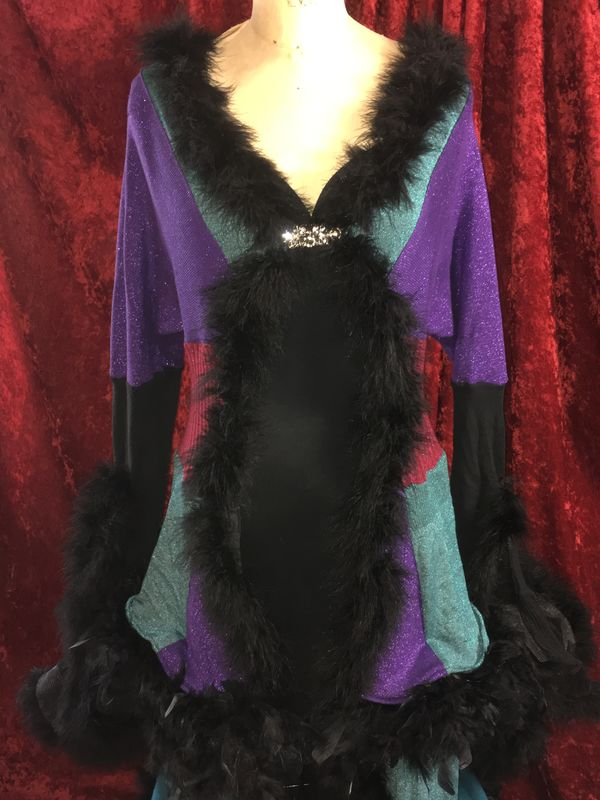 Duster/Sweatercoat in Layers of Feathers in Purple, Maroon and Teal - product images  of