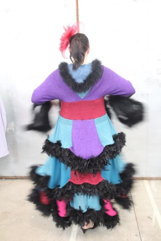 Duster/Sweatercoat,in,Layers,of,Feathers,Purple,,Maroon,and,Teal,Duster/Sweatercoat in Layers of Feathers in Purple, Maroon and Teal