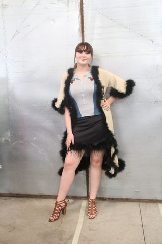 Gold,and,Magenta,,Black,Marabou,Trimmed,Duster,Upcycled,Sweatercoat,Gold and Magenta, Black Marabou Trimmed Duster Upcycled Sweatercoat
