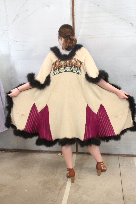 Gold and Magenta, Black Marabou Trimmed Duster Upcycled Sweatercoat - product images  of