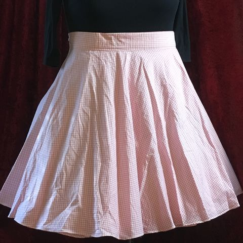 Wrap,Around,,Multi-size,,Circle,Skirt,Pink,Gingham,Print,Wrap Around, Multi-size, Circle Skirt Pink Gingham Print