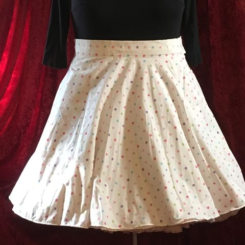 Wrap,Around,,Multi-size,,Circle,Skirt,Pastel,Dots,Print,Wrap Around, Multi-size, Circle Skirt Pastel Dots Print