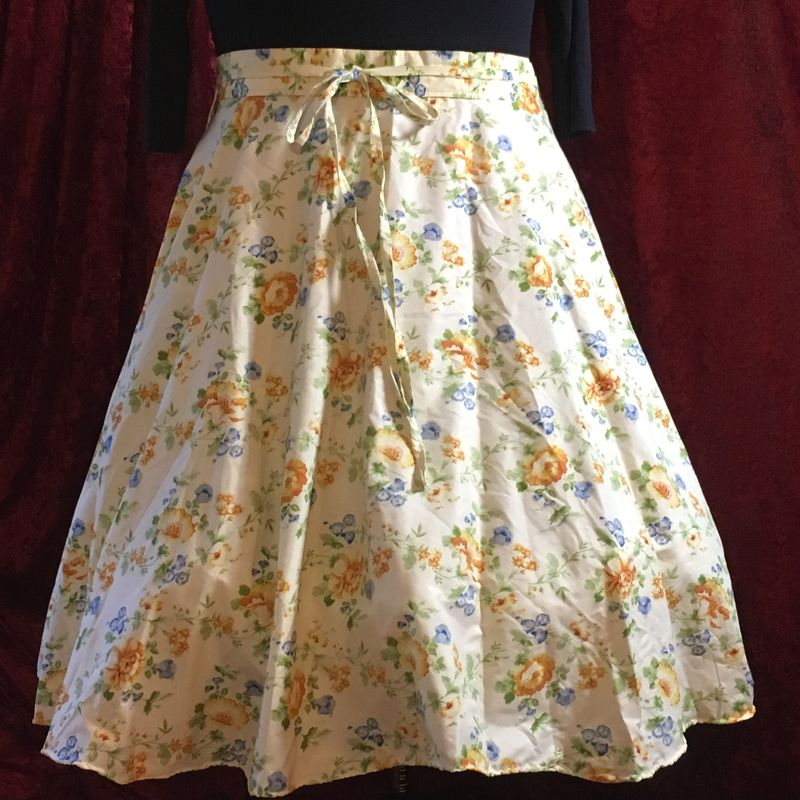 Wrap Around, Multi-size, Circle Skirt Yellow and Blue Floral Print - product images  of