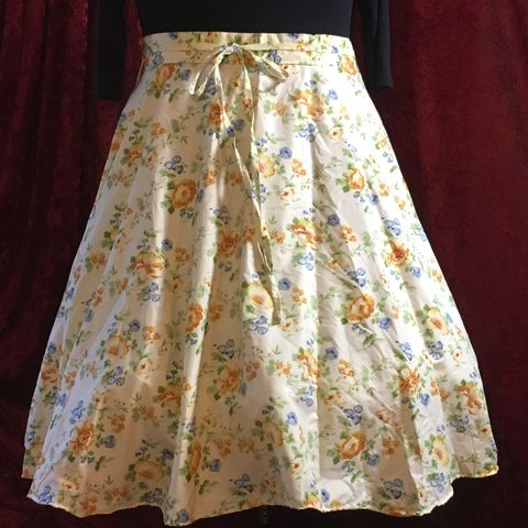 Wrap,Around,,Multi-size,,Circle,Skirt,Yellow,and,Blue,Floral,Print,Wrap Around, Multi-size, Circle Skirt Yellow and Blue Floral Print