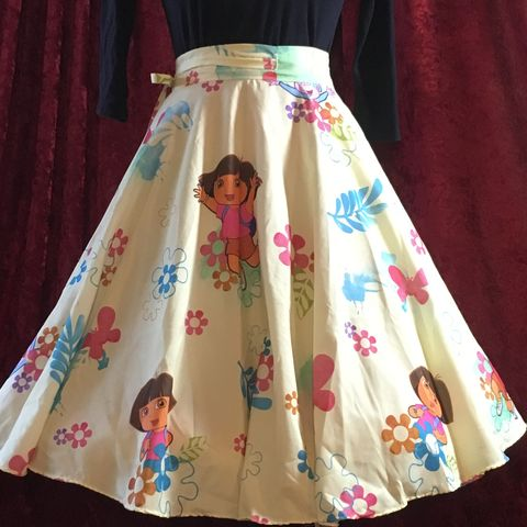 Wrap,Around,,Multi-size,,Circle,Skirt,,Dora,Print,Wrap Around, Multi-size, Circle Skirt, Dora Print