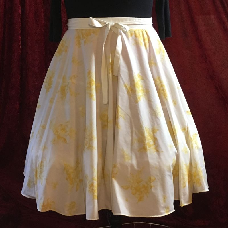 Wrap Around, Multi-size, Circle Skirt, Gold Floral Print - product images  of