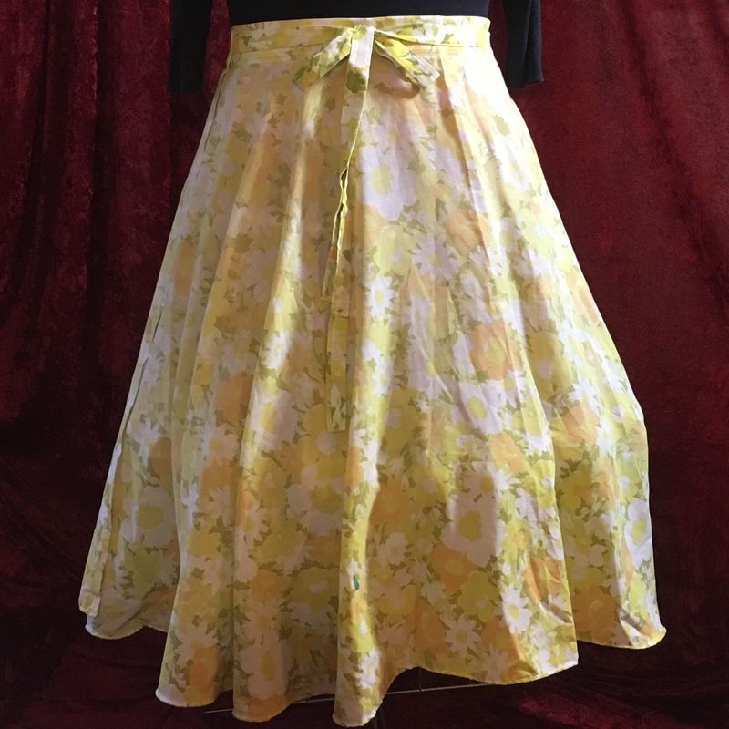 Wrap Around, Multi-size, Circle Skirt, Yellow and Orange Floral Print - product images  of