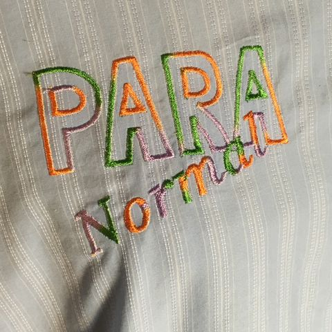 Orange,Green,Purple,Para,Normal,Embroidered,on,Light,Blue,Striped,Button-down,Shirt,Orange Green Purple Para Normal Embroidered on Light Blue Striped Button-down Shirt